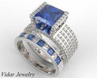 Princess Cut Blue Sapphire Wedding Ring Set In White Gold ...