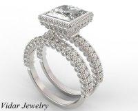 Wedding Ring Set 2 Carat Princess Cut Diamond Bridal Ring ...