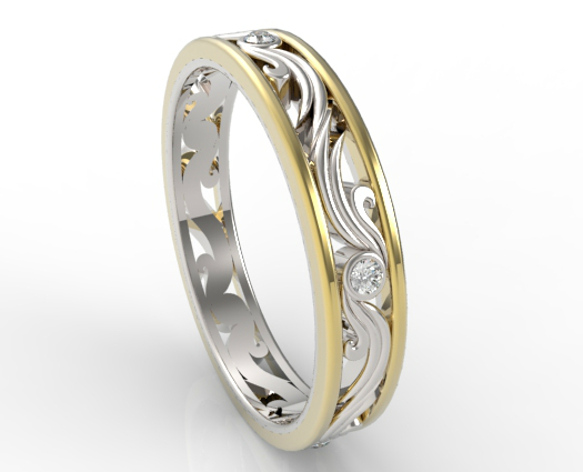 Womens Diamond Wedding Band Two Tone Gold Vidar Jewelry