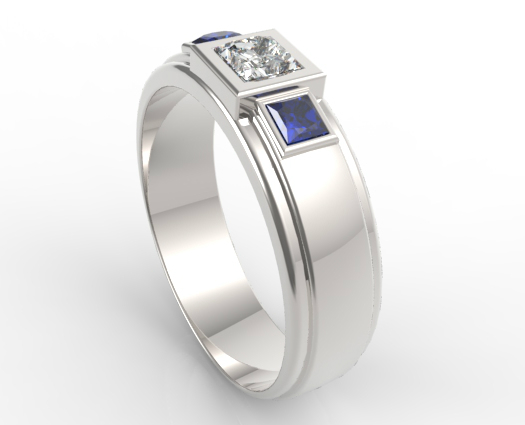 Three Stone Diamond Blue Sapphire Wedding Band For Mens