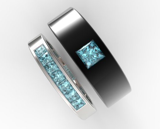 Unique Aquamarine Matching Bands For Him And Her  Vidar Jewelry  Unique Custom Engagement And