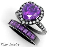 Black Gold Heart Amethyst Wedding Ring Set | Vidar Jewelry ...
