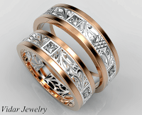 Princess Cut Diamond Matching Wedding Ring Set | Vidar ...