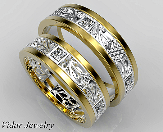 Unique Diamond Matching Wedding Ring Set