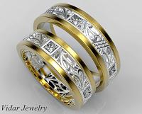 Unique Diamond Matching Wedding Ring Set   Vidar Jewelry ...