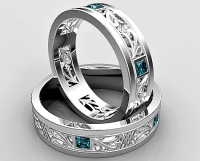 Princess Cut Blue Diamond Matching Wedding Ring Set ...
