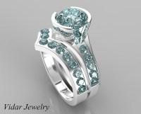Unique Style Aquamarine Wedding Ring Set | Vidar Jewelry ...