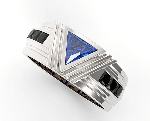 Unique Triangle Cut Blue Sapphire Wedding Ring For Mens