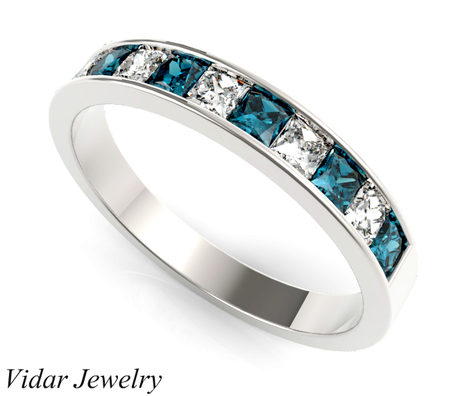 Alternating Princess Cut Blue And White Diamond Wedding Band  Vidar Jewelry  Unique Custom
