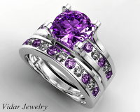 Amethyst Bridal Ring Set | Vidar Jewelry - Unique Custom ...