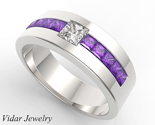 Princess Cut Amethyst Wedding Band For Mens  Vidar Jewelry  Unique Custom Engagement And