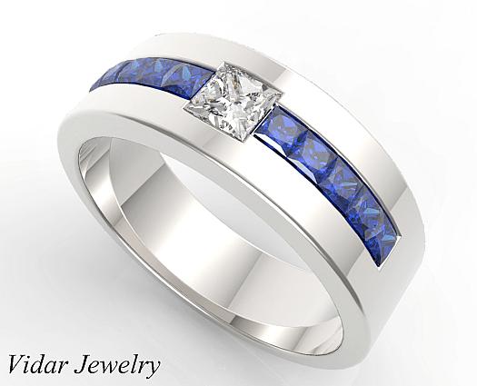 Princess Cut Blue Sapphire And Diamond Wedding Band For