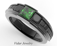 Men's Black Gold Emerald wedding Band