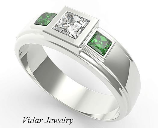 Three Stone Emerald Wedding Band For Mens Vidar Jewelry