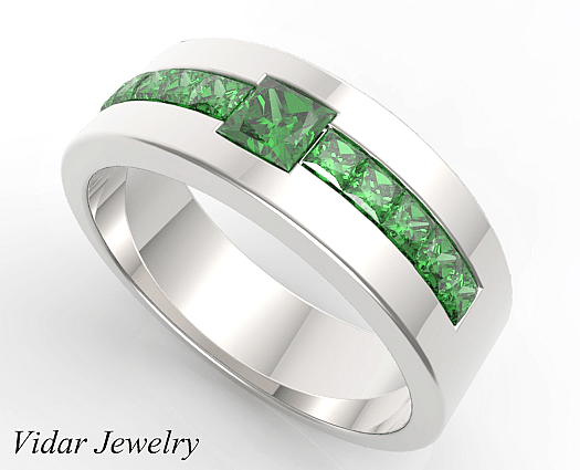Princess Cut Emerald Wedding Band For Mens  Vidar Jewelry