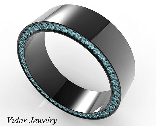 Black Gold Blue Diamonds Mens Wedding Band Vidar Jewelry