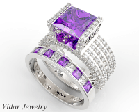 Unique Princess Cut Purple Amethyst Wedding Ring Set ...