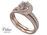 Very Light Pink Diamond Wedding Ring Set