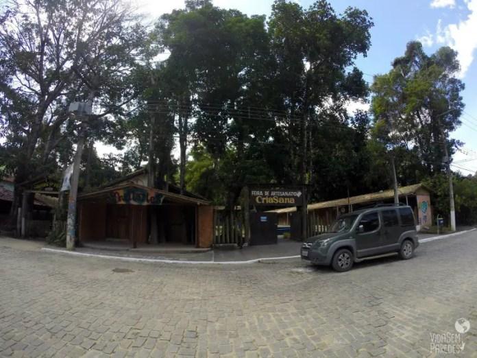 Fachada da Feira CriaSana, no centro do Arraial