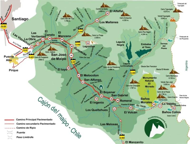 Mapa Cajón del Maipo e Embalse el Yeso