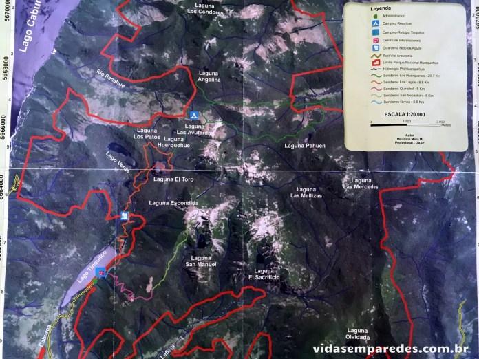 Vida sem Paredes - Mapa Parque Nacional Huerquehue