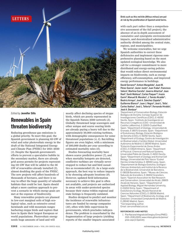 Las renovables a gran escala amenazan a la biodiversidad