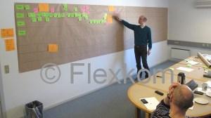 Billede af Lean værdistrømsanalyse af et internt ordreflow. Mikkel Smith fra Flexkom i gang med facilitering af analysen.