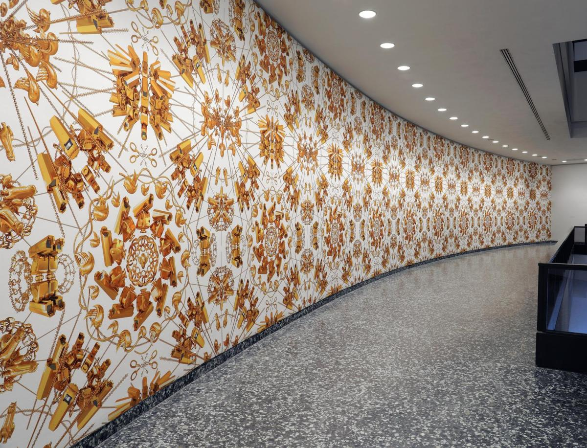 1499058467080 1498679396126 Ai Weiwei lobby with gold wallpaper