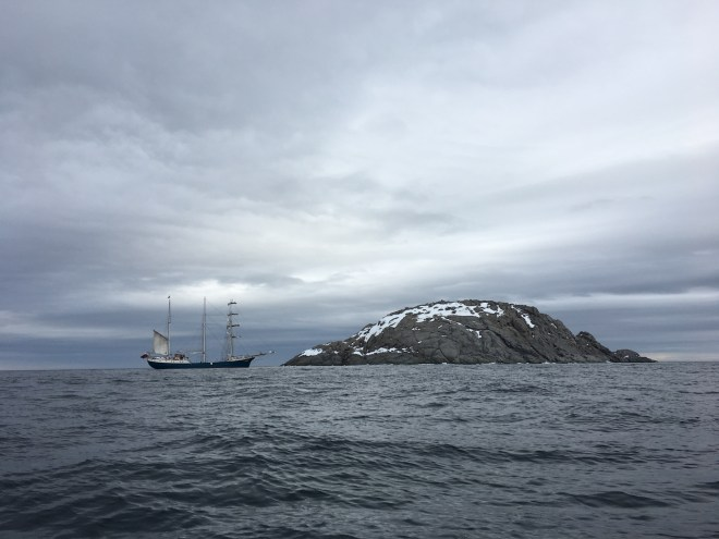 Our boat anchored off Rossøya. Sir John Franklin encountered impenetrable sea ice at this point 200 years ago. Photo by Craig S. Smith
