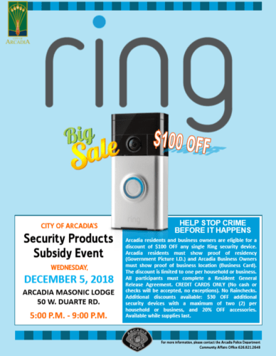 Arcadia, CA promotional image for a Ring subsidy program event in December 2018.