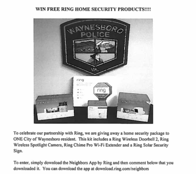 Waynesboro, VA flyer for a Ring product giveaway program obtained by Motherboard.