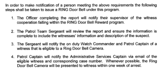 Excerpt of the ?RING REWARD PROGRAM? document obtained by Motherboard