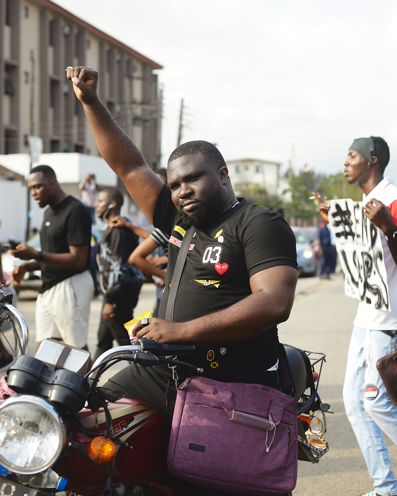 Protester on motorbike at anti-SARS protest in Lagos