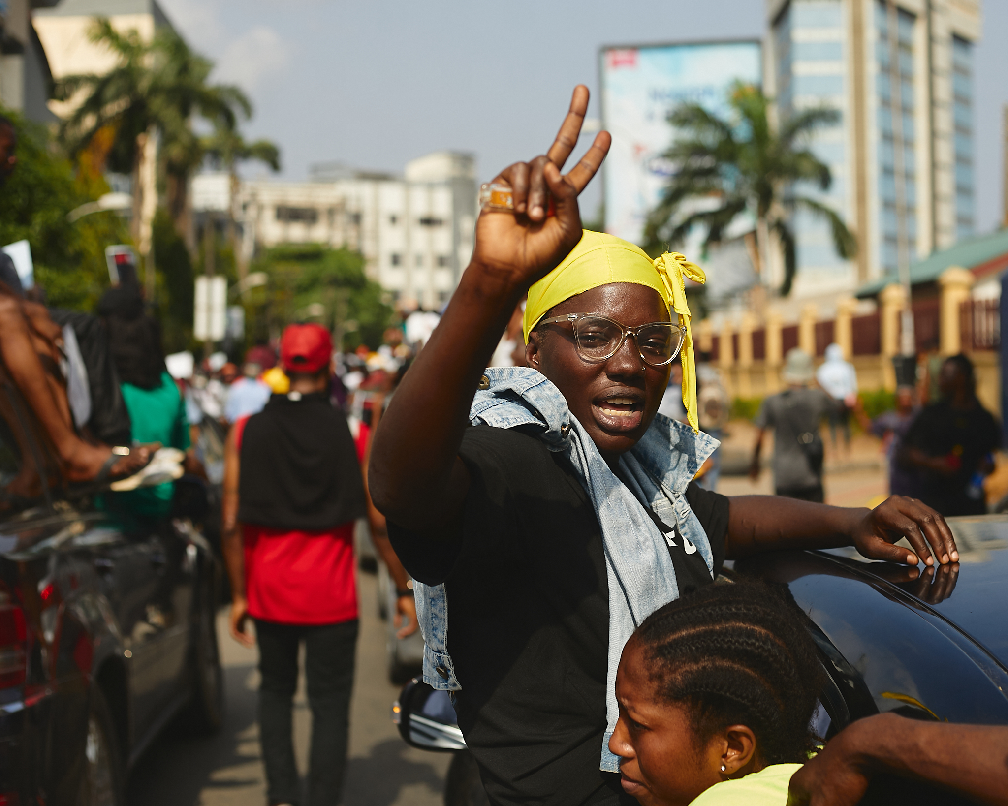 Protester at anti-SARS protest in Lagos