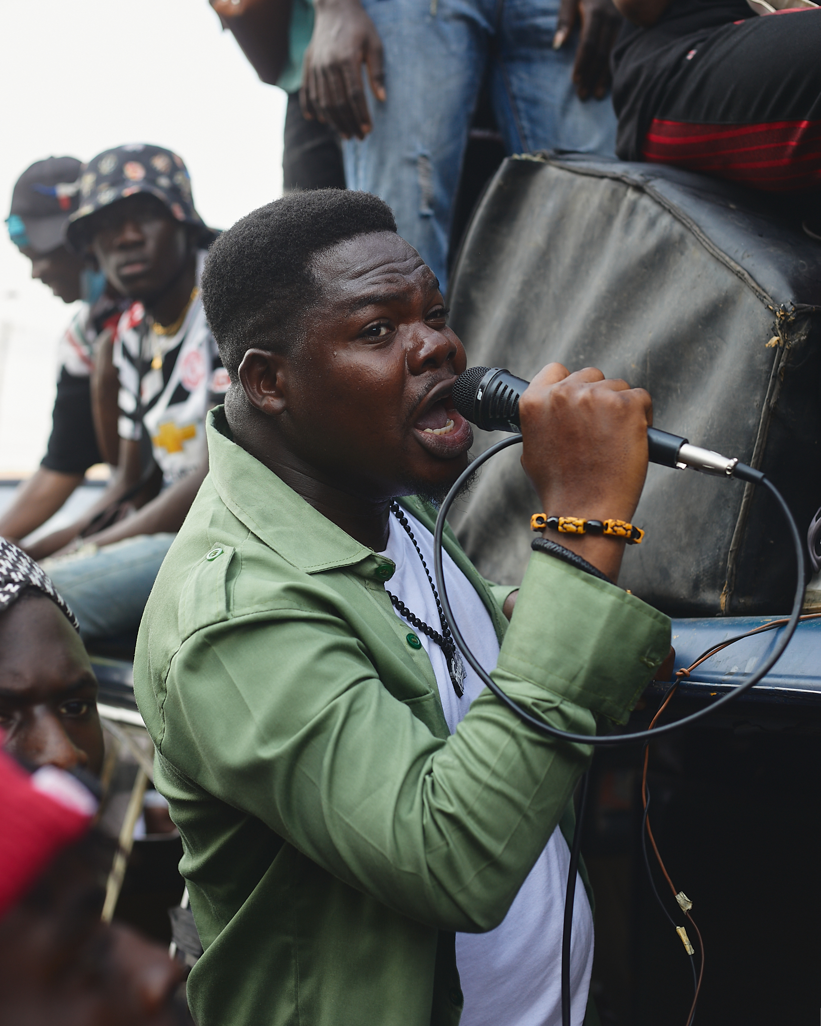 Protester with mic at anti-SARS protest in Lagos