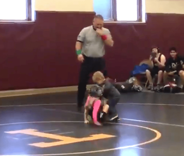 Two Year Old Brother Intervenes In Big Sisters Wrestling Match