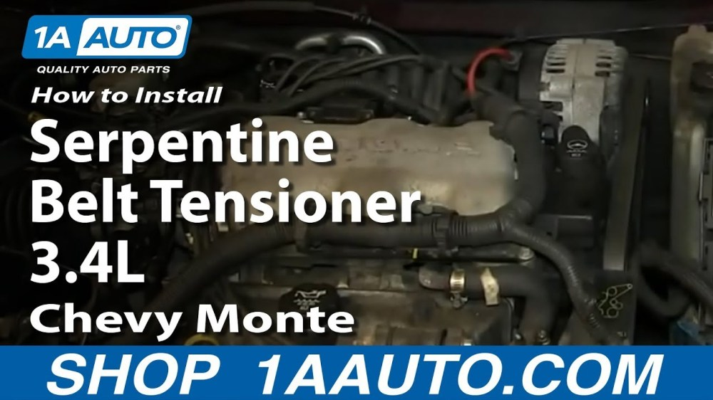 medium resolution of how to replace serpentine belt tensioner 95 05 chevy monte carlo 1a auto