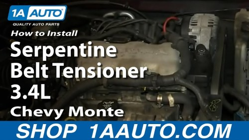 small resolution of how to replace serpentine belt tensioner 95 05 chevy monte carlo 1a auto