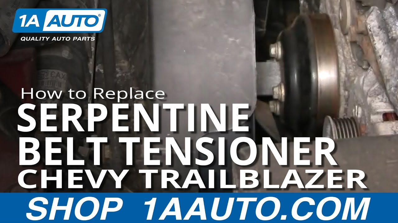 hight resolution of how to replace serpentine belt tensioner 02 05 chevy trailblazer 1a auto