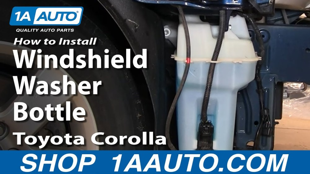 medium resolution of how to replace windshield washer reservoir 03 08 toyota corolla 1a auto