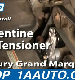 how to replace serpentine belt tensioner with pulley 00 10 mercury grand marquis 4 6l 1a auto [ 1280 x 720 Pixel ]