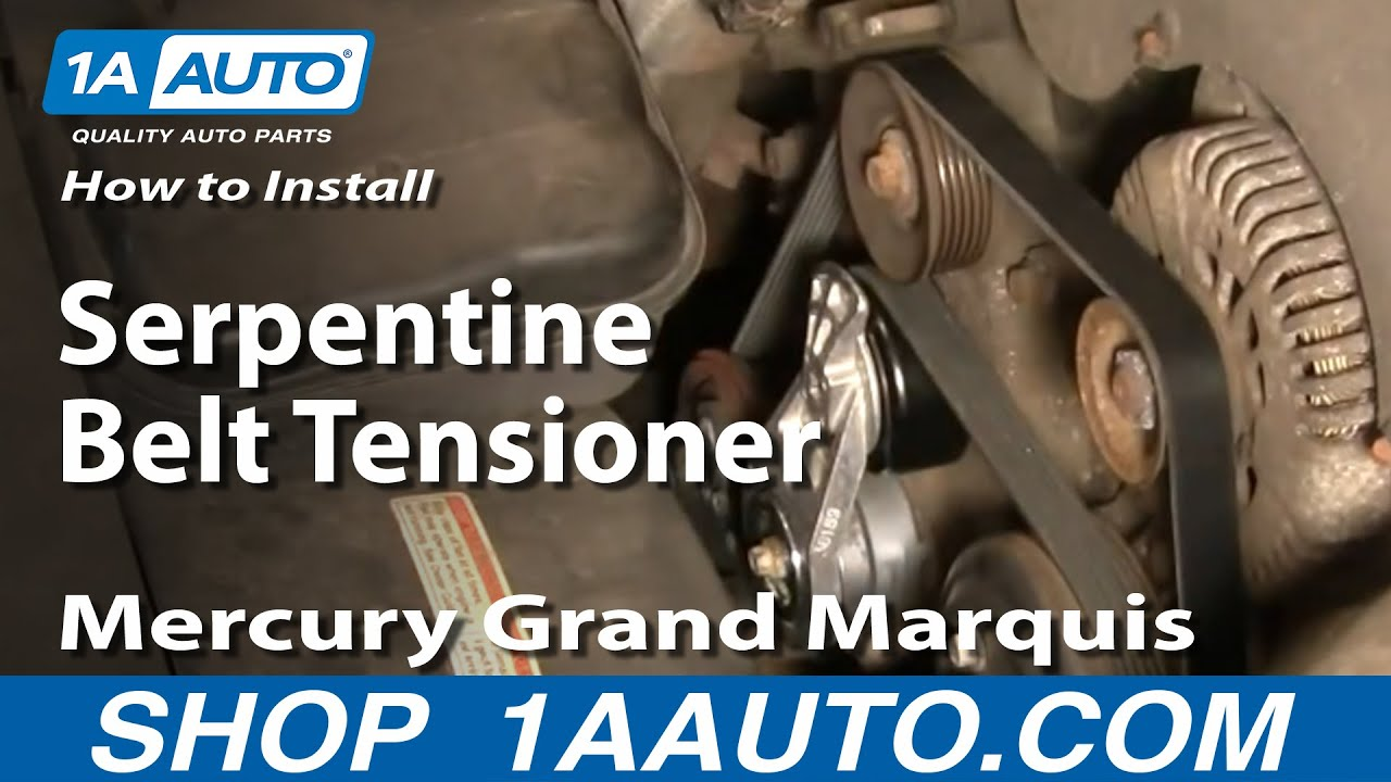 hight resolution of how to replace serpentine belt tensioner with pulley 00 10 mercury grand marquis 4 6l 1a auto