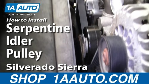 small resolution of how to replace serpentine idler pulley 99 07 gmc sierra 1a auto 2011 jeep liberty serpentine belt diagram as well 2013 dodge ram 3500