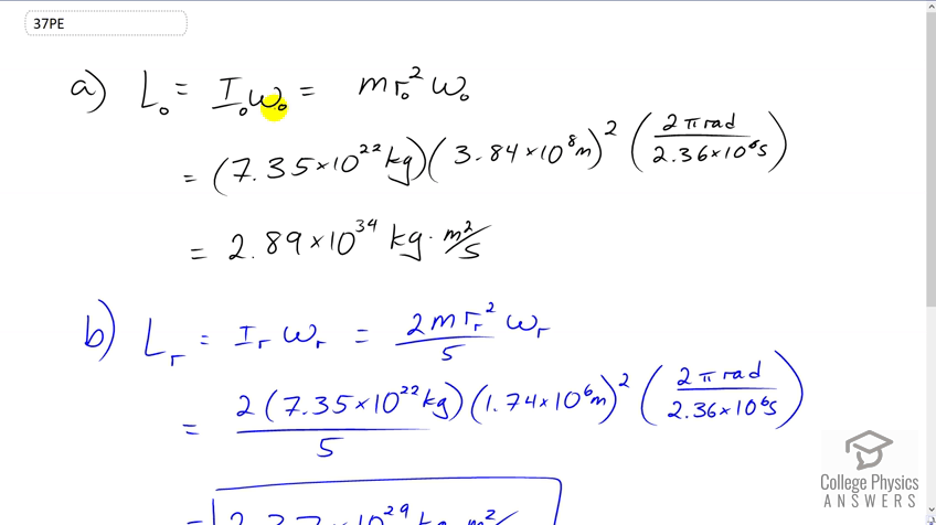 OpenStax College Physics Solution Chapter 10 Problem 37