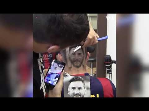 بالفيديو: شخص ينحت صورة ميسي على رأسه