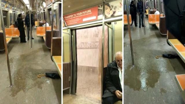 شلال مياه يتدفق داخل عربة مترو ويثير رعب الركاب