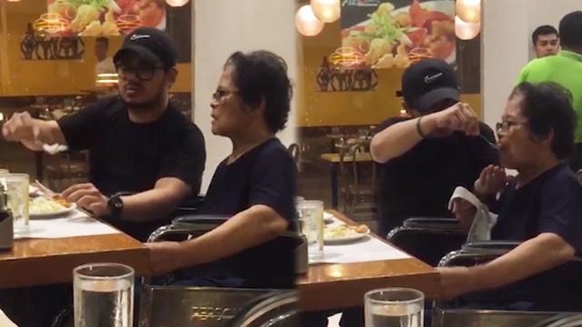 ابن بار يطعم والدته داخل مطعم يذيب قلوب الإنترنت