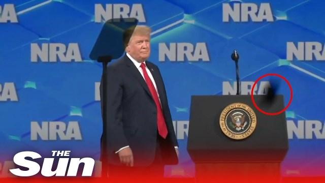 """سكران يقذف """"ترامب"""" بهاتفه أثناء إلقاء كلمة أمام الحضور.. وهكذا جاءت ردة فعل الرئيس الأمريكي!"""