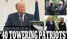 Donald Trump pays tribute to United flight 93 passengers who 'took charge and changed the course of history forever' by overpowering hijackers before jet reached Washington at 9/11 ceremony in Shanksville – as Pence and Biden mourn in NYC