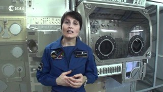 ESA astronaut Samantha Cristoforetti addresses Space Lab winners